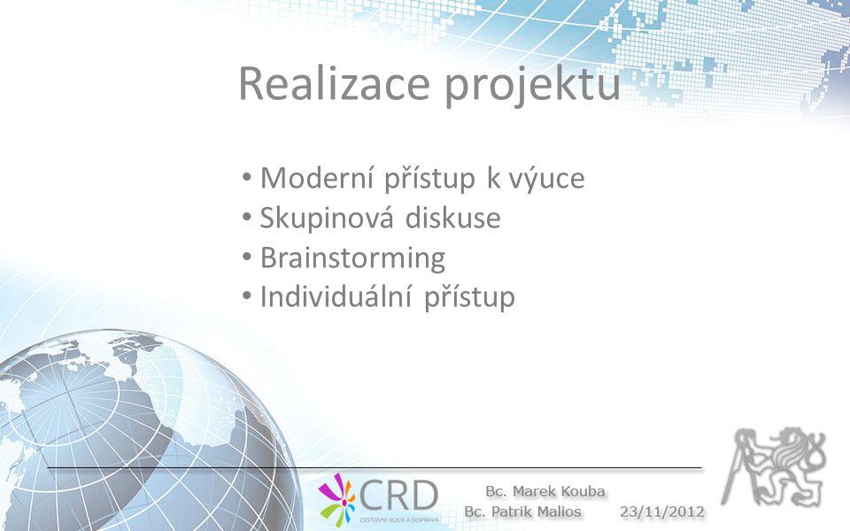 Realizace projektu Moderní přístup k výuce Skupinová diskuse Brainstorming Individuální přístup