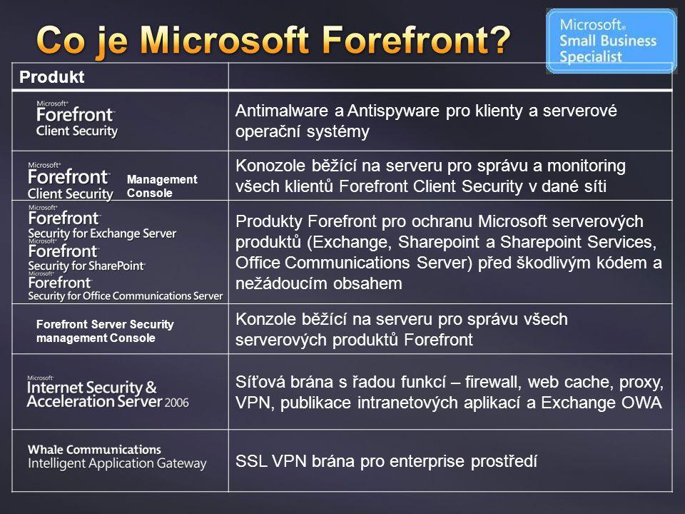 Produkt Antimalware a Antispyware pro klienty a serverové operační systémy Konozole běžící na serveru pro správu a monitoring všech klientů Forefront
