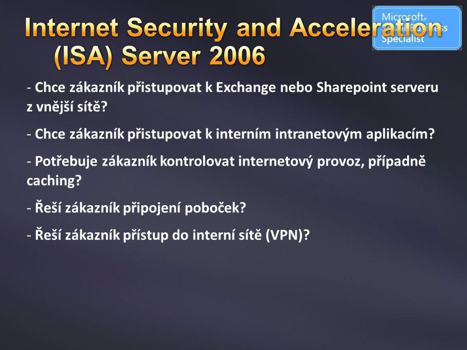 - Chce zákazník přistupovat k Exchange nebo Sharepoint serveru z vnější sítě? - Chce zákazník přistupovat k interním intranetovým aplikacím? - Potřebu