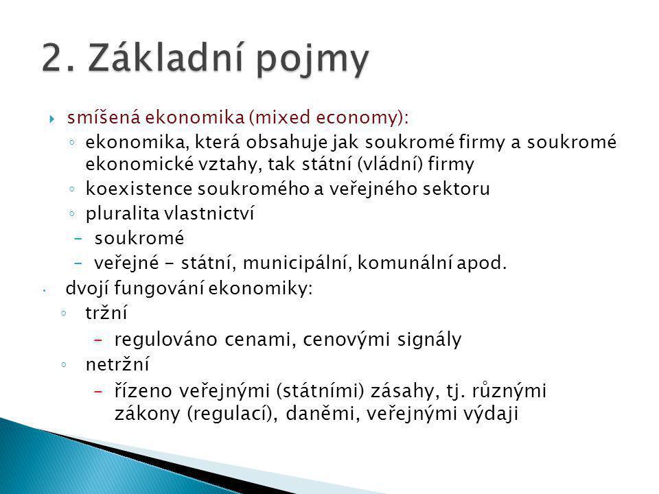  smíšená ekonomika (mixed economy): ◦ ekonomika, která obsahuje jak soukromé firmy a soukromé ekonomické vztahy, tak státní (vládní) firmy ◦ koexistence soukromého a veřejného sektoru ◦ pluralita vlastnictví –soukromé –veřejné - státní, municipální, komunální apod.