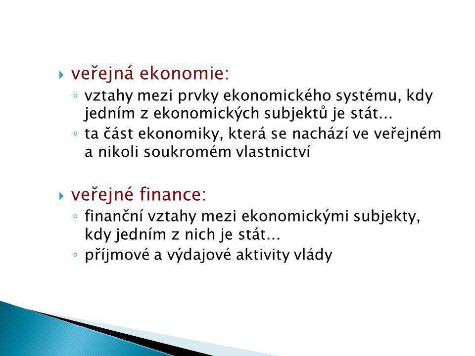  veřejná ekonomie: ◦ vztahy mezi prvky ekonomického systému, kdy jedním z ekonomických subjektů je stát...