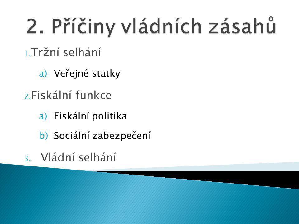 1. Tržní selhání a)Veřejné statky 2. Fiskální funkce a)Fiskální politika b)Sociální zabezpečení 3.