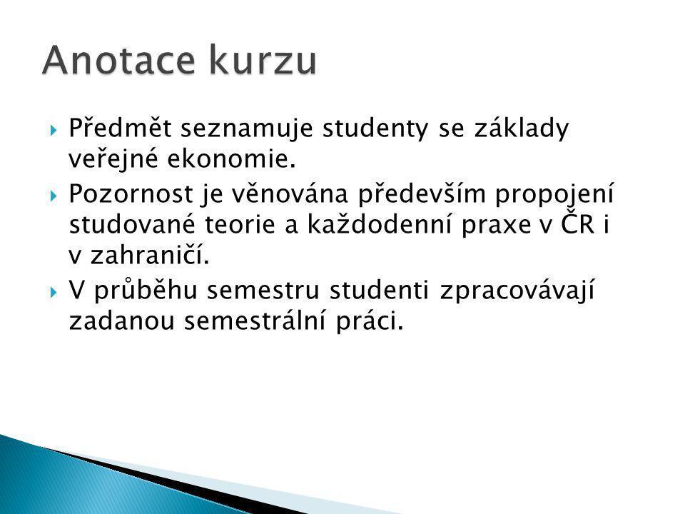  Předmět seznamuje studenty se základy veřejné ekonomie.