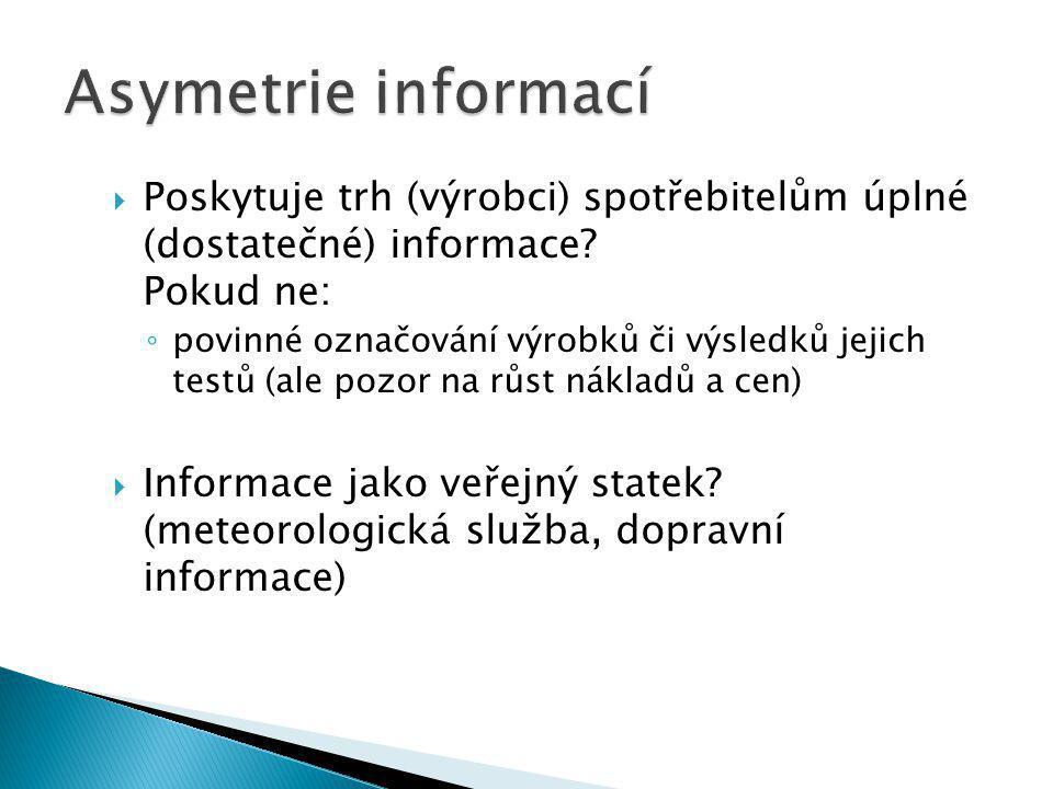  Poskytuje trh (výrobci) spotřebitelům úplné (dostatečné) informace.