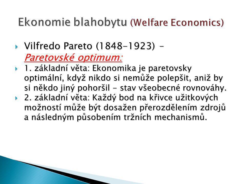  Vilfredo Pareto (1848-1923) – Paretovské optimum:  1.
