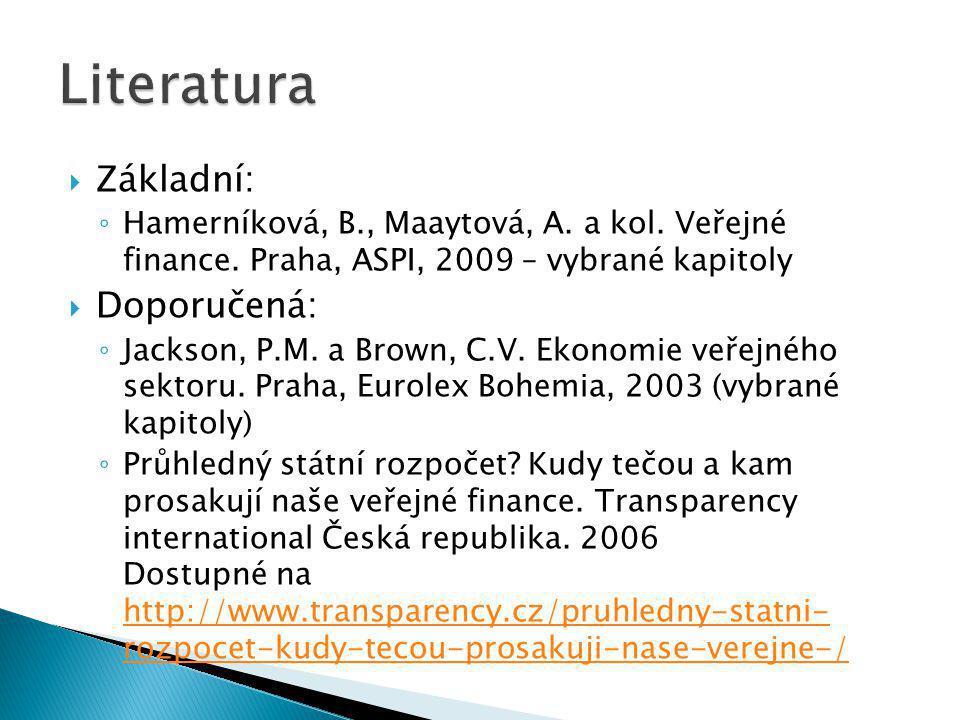  Základní: ◦ Hamerníková, B., Maaytová, A. a kol.