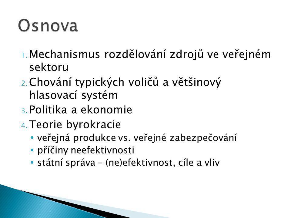 1. Mechanismus rozdělování zdrojů ve veřejném sektoru 2.