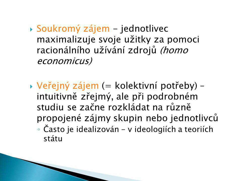  Soukromý zájem - jednotlivec maximalizuje svoje užitky za pomoci racionálního užívání zdrojů (homo economicus)  Veřejný zájem (= kolektivní potřeby) – intuitivně zřejmý, ale při podrobném studiu se začne rozkládat na různě propojené zájmy skupin nebo jednotlivců ◦ Často je idealizován - v ideologiích a teoriích státu