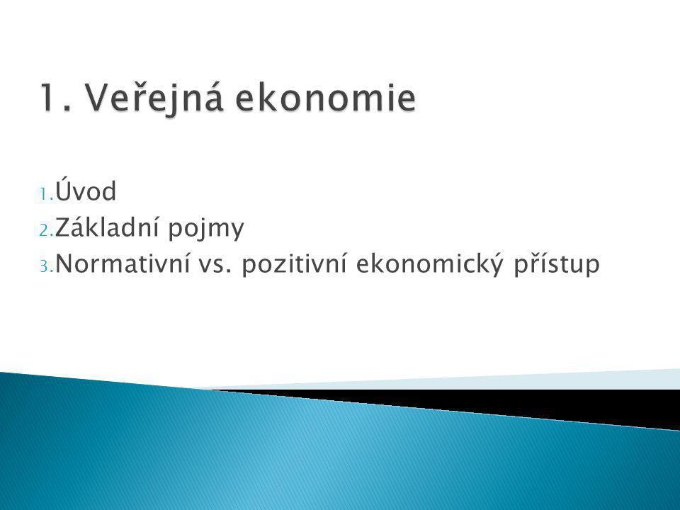 1. Úvod 2. Základní pojmy 3. Normativní vs. pozitivní ekonomický přístup