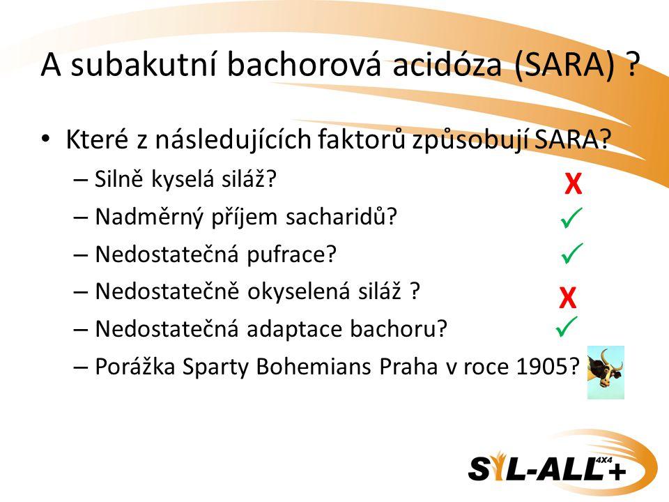A subakutní bachorová acidóza (SARA) ? Které z následujících faktorů způsobují SARA? – Silně kyselá siláž? – Nadměrný příjem sacharidů? – Nedostatečná