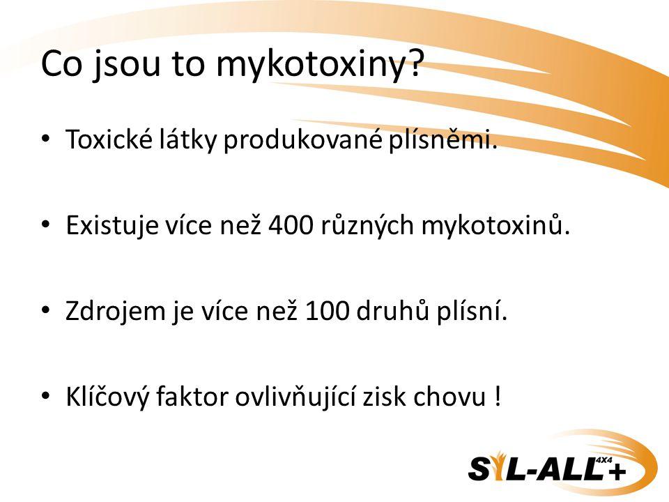 Co jsou to mykotoxiny? Toxické látky produkované plísněmi. Existuje více než 400 různých mykotoxinů. Zdrojem je více než 100 druhů plísní. Klíčový fak