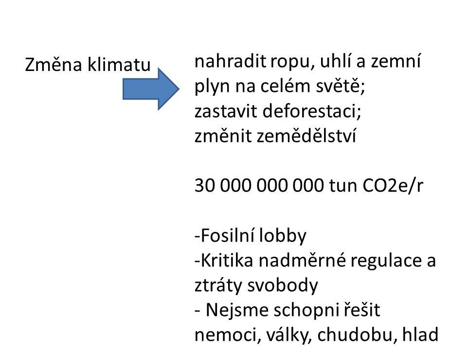 Změna klimatu nahradit ropu, uhlí a zemní plyn na celém světě; zastavit deforestaci; změnit zemědělství 30 000 000 000 tun CO2e/r -Fosilní lobby -Kritika nadměrné regulace a ztráty svobody - Nejsme schopni řešit nemoci, války, chudobu, hlad