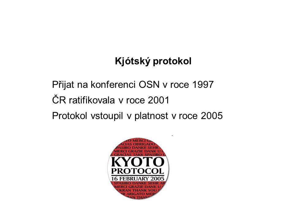 Kjótský protokol Přijat na konferenci OSN v roce 1997 ČR ratifikovala v roce 2001 Protokol vstoupil v platnost v roce 2005