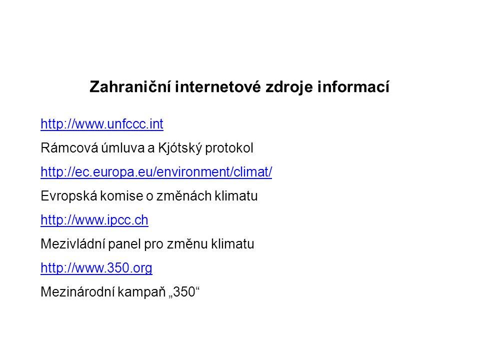"""Zahraniční internetové zdroje informací http://www.unfccc.int Rámcová úmluva a Kjótský protokol http://ec.europa.eu/environment/climat/ Evropská komise o změnách klimatu http://www.ipcc.ch Mezivládní panel pro změnu klimatu http://www.350.org Mezinárodní kampaň """"350"""