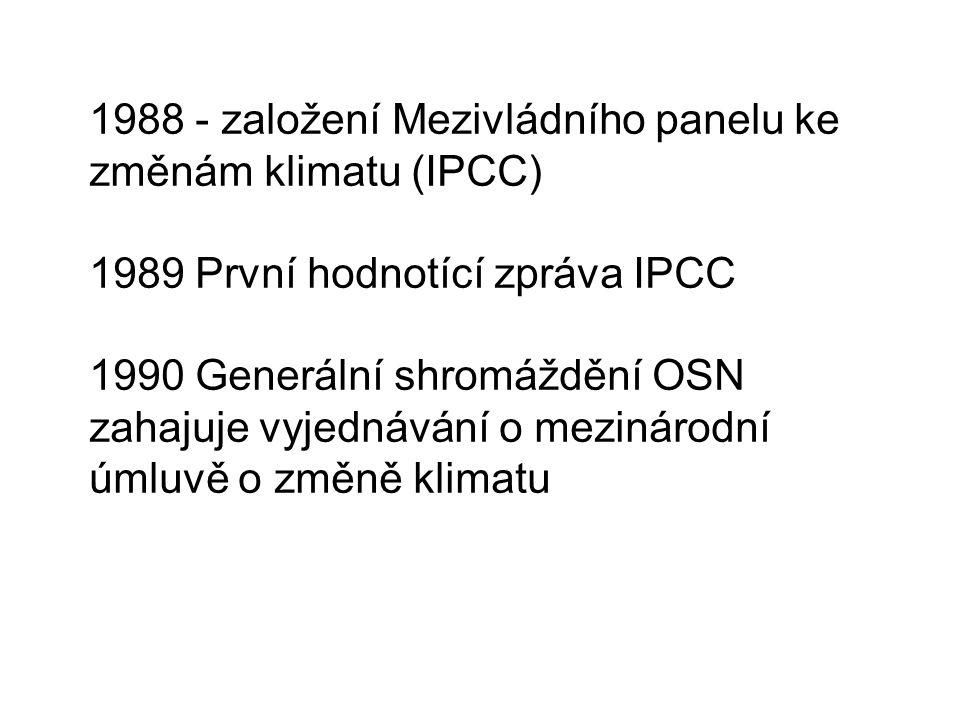 1988 - založení Mezivládního panelu ke změnám klimatu (IPCC) 1989 První hodnotící zpráva IPCC 1990 Generální shromáždění OSN zahajuje vyjednávání o mezinárodní úmluvě o změně klimatu