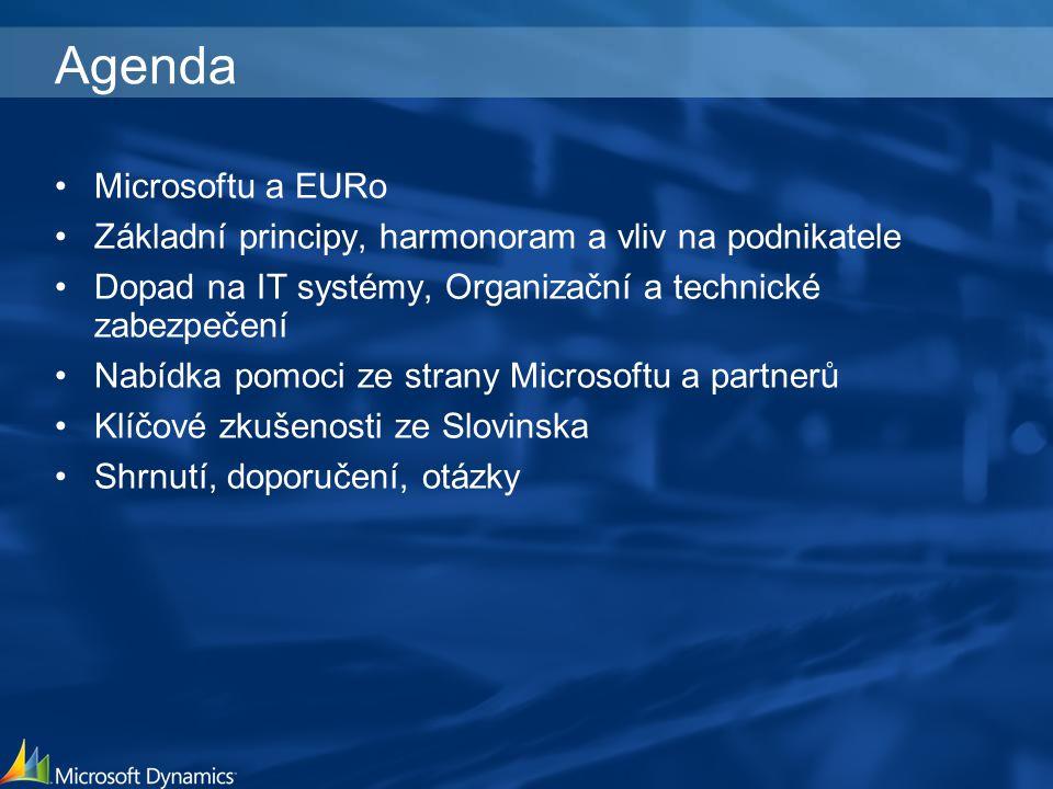 Agenda Microsoftu a EURo Základní principy, harmonoram a vliv na podnikatele Dopad na IT systémy, Organizační a technické zabezpečení Nabídka pomoci ze strany Microsoftu a partnerů Klíčové zkušenosti ze Slovinska Shrnutí, doporučení, otázky