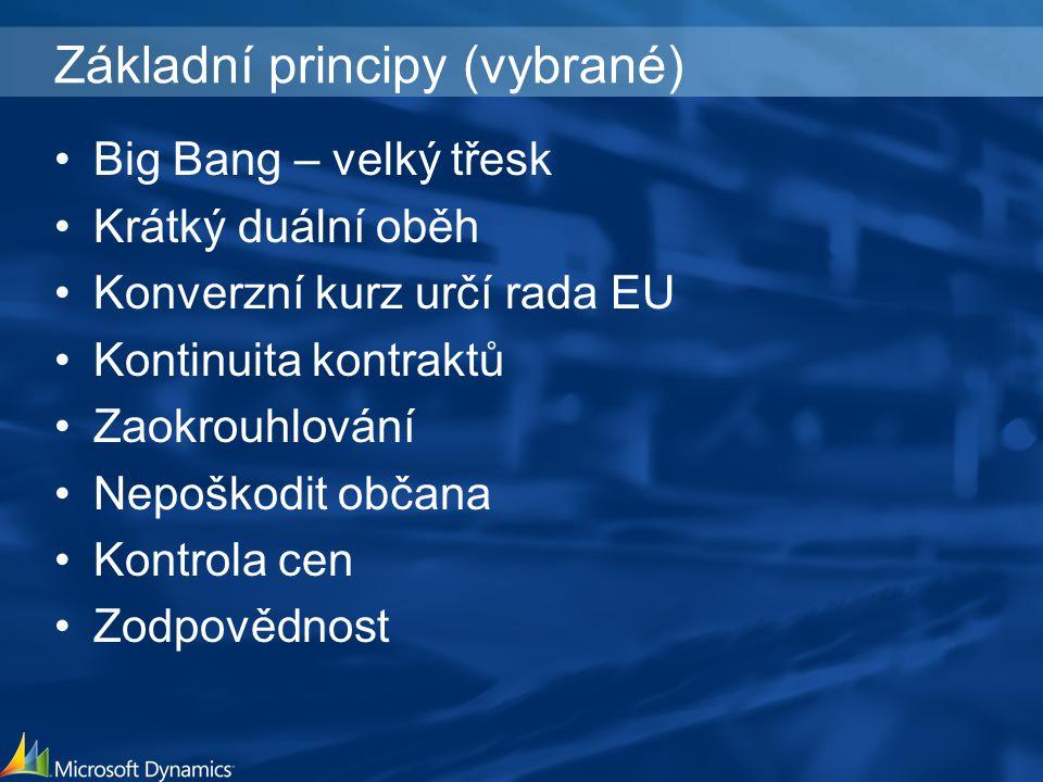 Základní principy (vybrané) Big Bang – velký třesk Krátký duální oběh Konverzní kurz určí rada EU Kontinuita kontraktů Zaokrouhlování Nepoškodit občana Kontrola cen Zodpovědnost