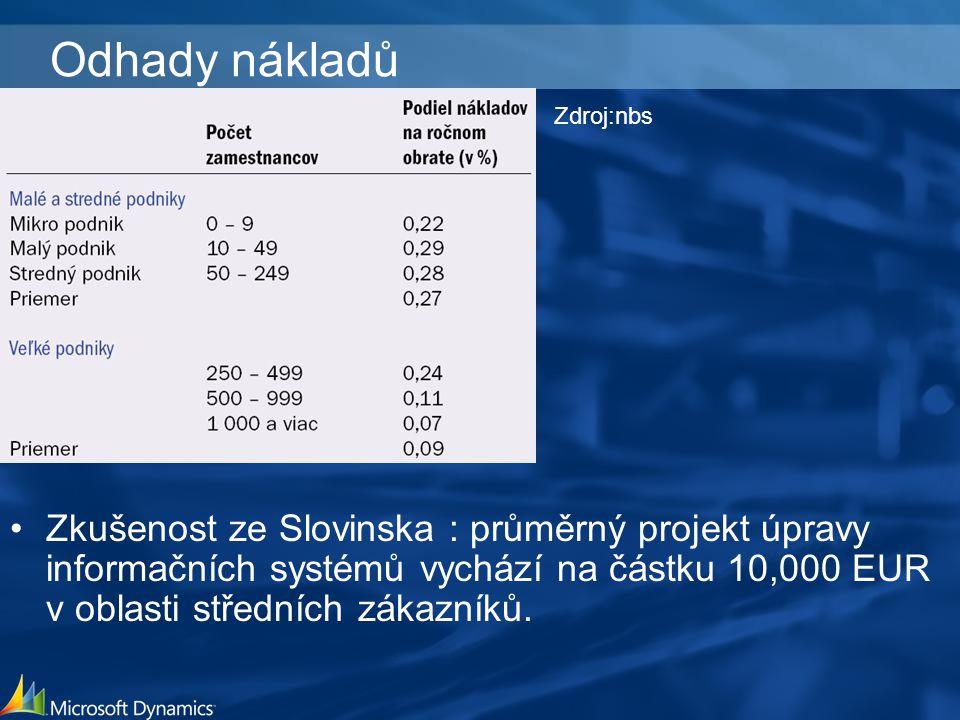 Odhady nákladů Zkušenost ze Slovinska : průměrný projekt úpravy informačních systémů vychází na částku 10,000 EUR v oblasti středních zákazníků.