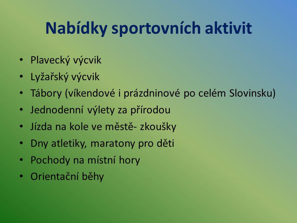 Nabídky sportovních aktivit Plavecký výcvik Lyžařský výcvik Tábory (víkendové i prázdninové po celém Slovinsku) Jednodenní výlety za přírodou Jízda na kole ve městě- zkoušky Dny atletiky, maratony pro děti Pochody na místní hory Orientační běhy
