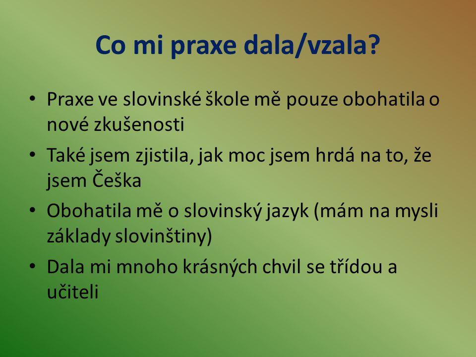 Co mi praxe dala/vzala? Praxe ve slovinské škole mě pouze obohatila o nové zkušenosti Také jsem zjistila, jak moc jsem hrdá na to, že jsem Češka Oboha