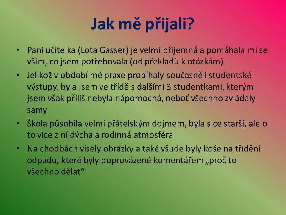Jak mě přijali? Paní učitelka (Lota Gasser) je velmi příjemná a pomáhala mi se vším, co jsem potřebovala (od překladů k otázkám) Jelikož v období mé p