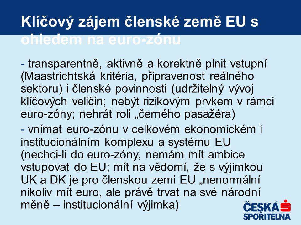 """Klíčový zájem členské země EU s ohledem na euro-zónu - transparentně, aktivně a korektně plnit vstupní (Maastrichtská kritéria, připravenost reálného sektoru) i členské povinnosti (udržitelný vývoj klíčových veličin; nebýt rizikovým prvkem v rámci euro-zóny; nehrát roli """"černého pasažéra) - vnímat euro-zónu v celkovém ekonomickém i institucionálním komplexu a systému EU (nechci-li do euro-zóny, nemám mít ambice vstupovat do EU; mít na vědomí, že s výjimkou UK a DK je pro členskou zemi EU """"nenormální nikoliv mít euro, ale právě trvat na své národní měně – institucionální výjimka)"""