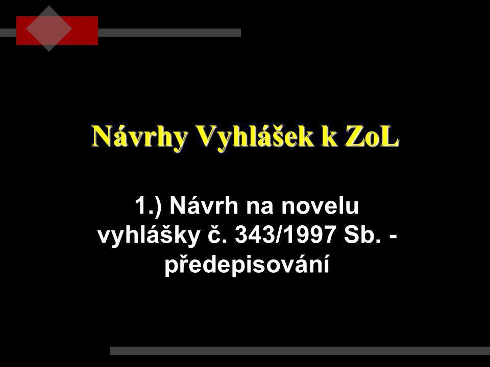Návrhy Vyhlášek k ZoL 1.) Návrh na novelu vyhlášky č. 343/1997 Sb. - předepisování