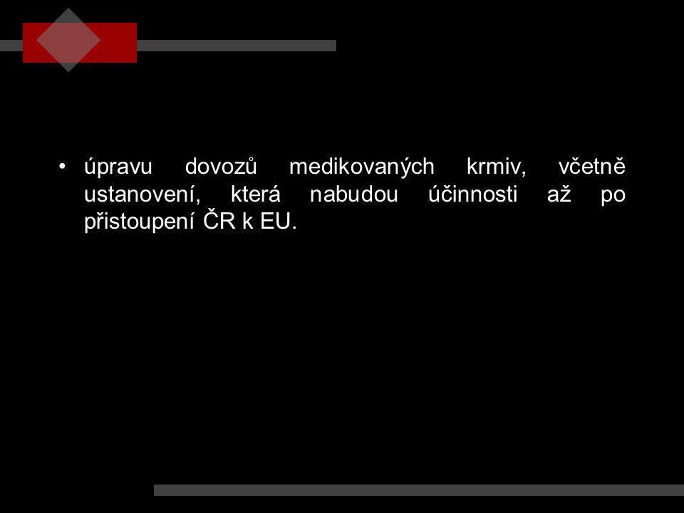 úpravu dovozů medikovaných krmiv, včetně ustanovení, která nabudou účinnosti až po přistoupení ČR k EU.