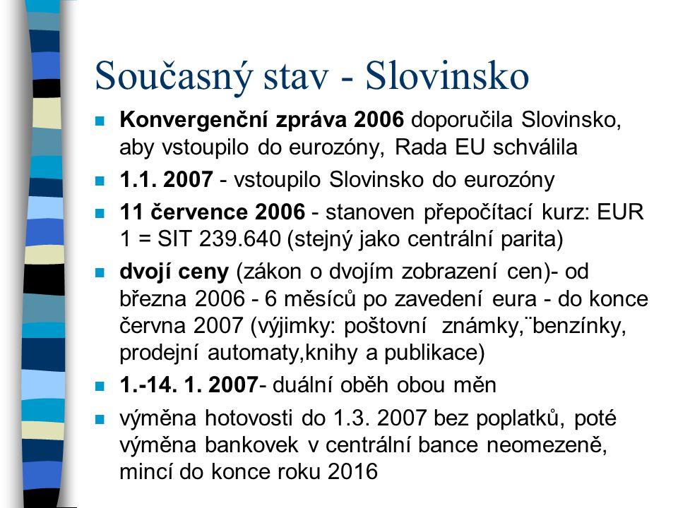 Současný stav - Slovinsko n Konvergenční zpráva 2006 doporučila Slovinsko, aby vstoupilo do eurozóny, Rada EU schválila n 1.1. 2007 - vstoupilo Slovin