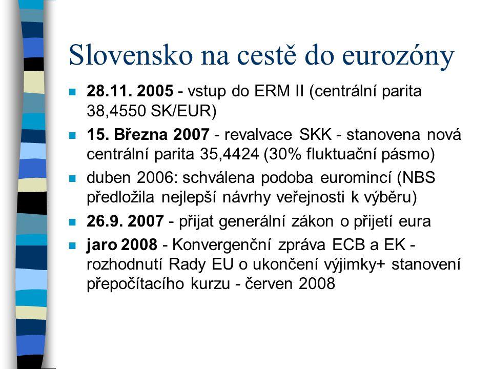 Slovensko na cestě do eurozóny n 28.11. 2005 - vstup do ERM II (centrální parita 38,4550 SK/EUR) n 15. Března 2007 - revalvace SKK - stanovena nová ce