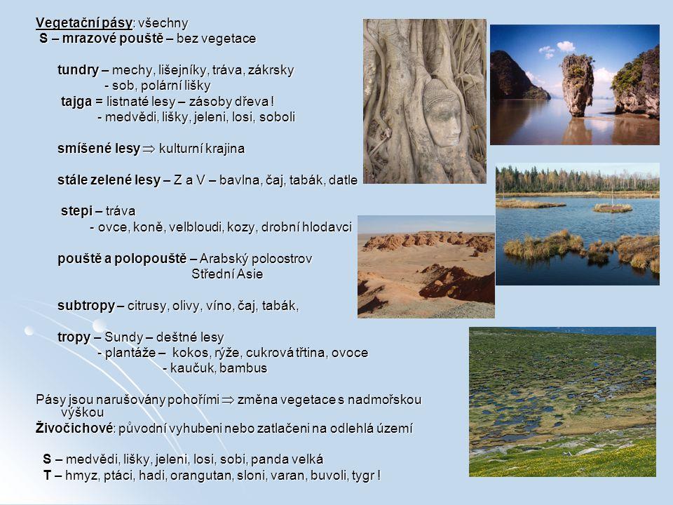 Vegetační pásy: všechny S – mrazové pouště – bez vegetace S – mrazové pouště – bez vegetace tundry – mechy, lišejníky, tráva, zákrsky tundry – mechy,