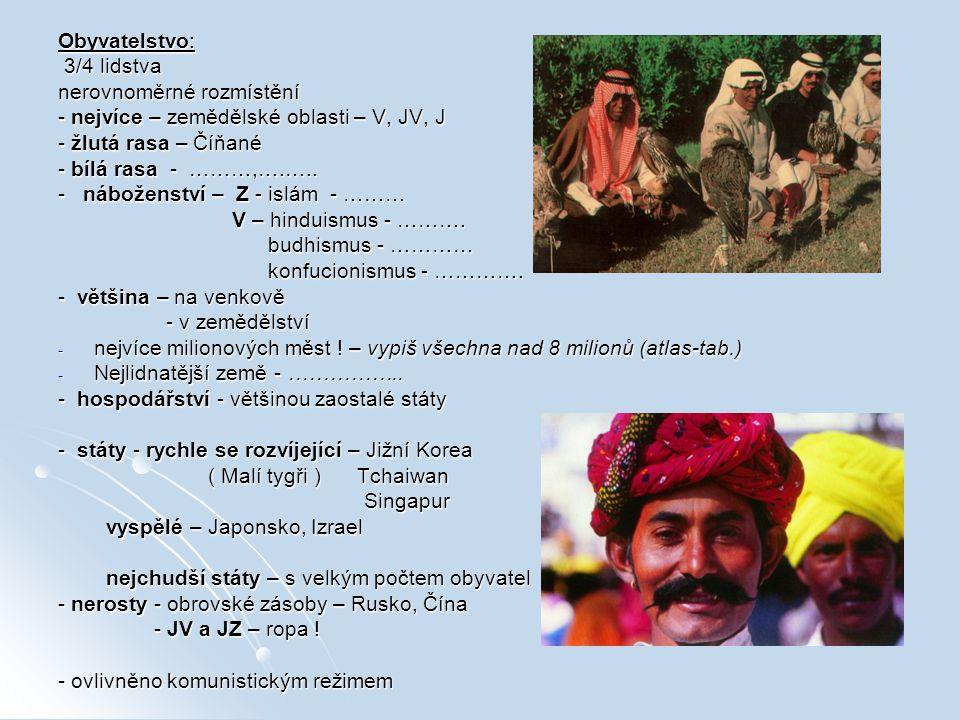 Obyvatelstvo: 3/4 lidstva 3/4 lidstva nerovnoměrné rozmístění - nejvíce – zemědělské oblasti – V, JV, J - žlutá rasa – Číňané - bílá rasa - ………,….…..