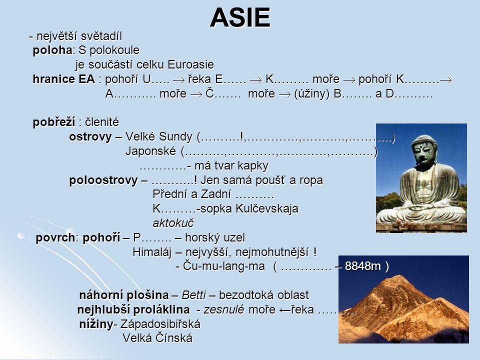 ASIE - největší světadíl poloha: S polokoule poloha: S polokoule je součástí celku Euroasie je součástí celku Euroasie hranice EA : pohoří U…..  řeka