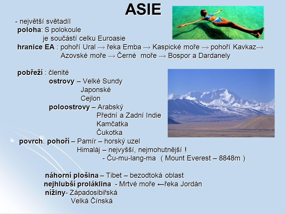 ASIE - největší světadíl poloha: S polokoule poloha: S polokoule je součástí celku Euroasie je součástí celku Euroasie hranice EA : pohoří Ural  řeka