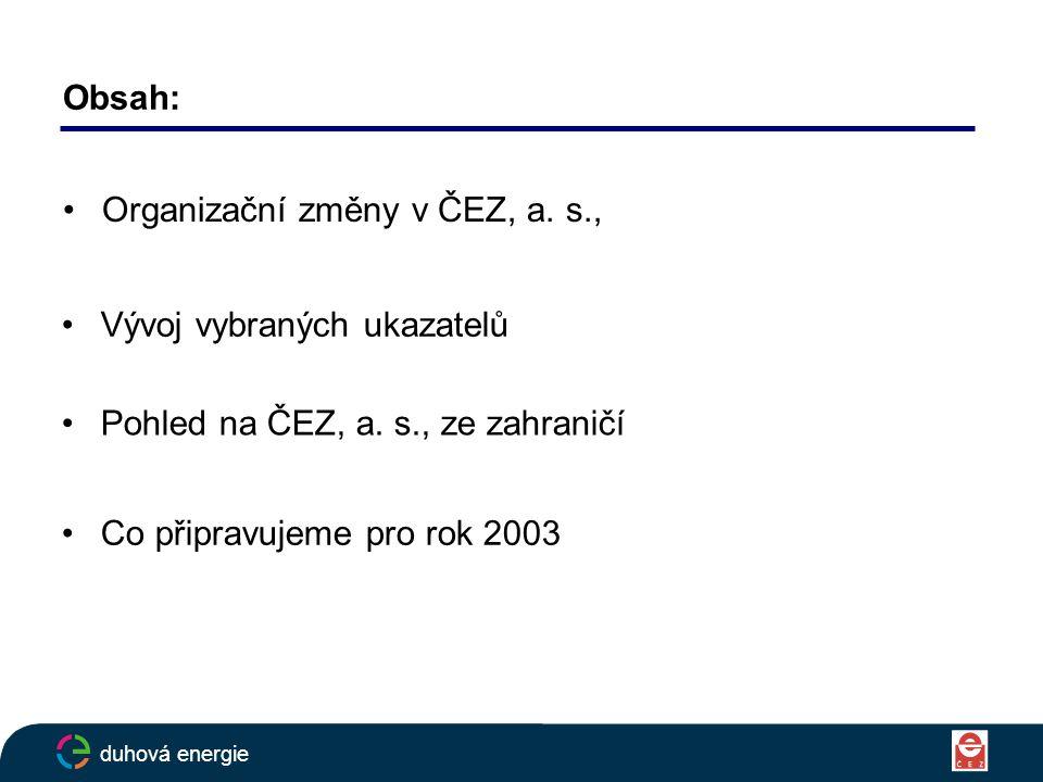 Obsah: Organizační změny v ČEZ, a. s., duhová energie Vývoj vybraných ukazatelů Pohled na ČEZ, a.