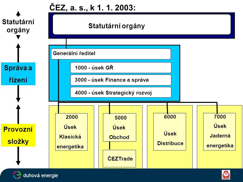 ČEZ, a. s., k 1. 1. 2003: Generální ředitel Statutární orgány 1000 - úsek GŘ 3000 - úsek Finance a správa 4000 - úsek Strategický rozvoj Úsek Klasická