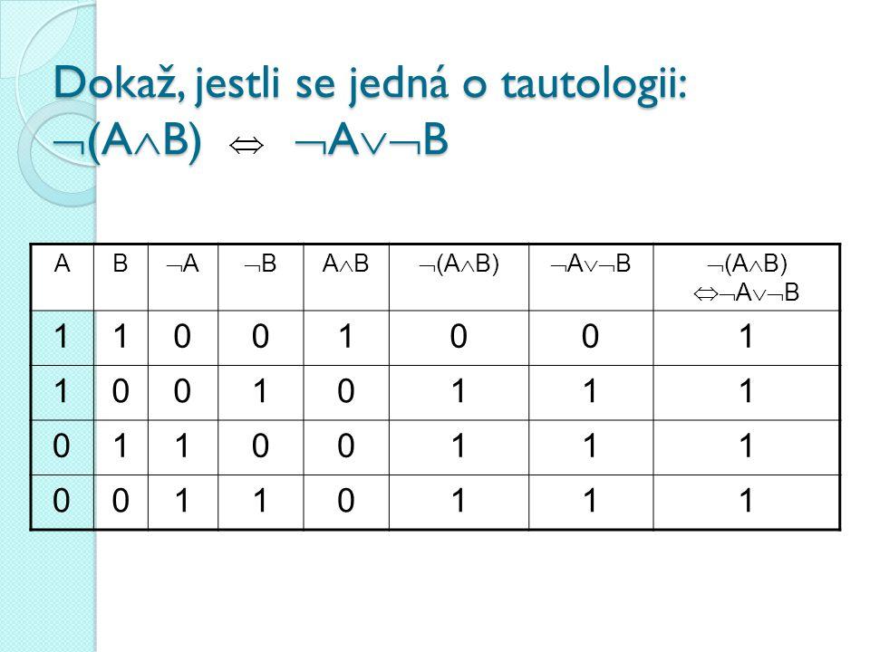 Pravdivostní tabulky složených výroků zopakování AB ABABABABABABABAB 111111 100100 010110 000011