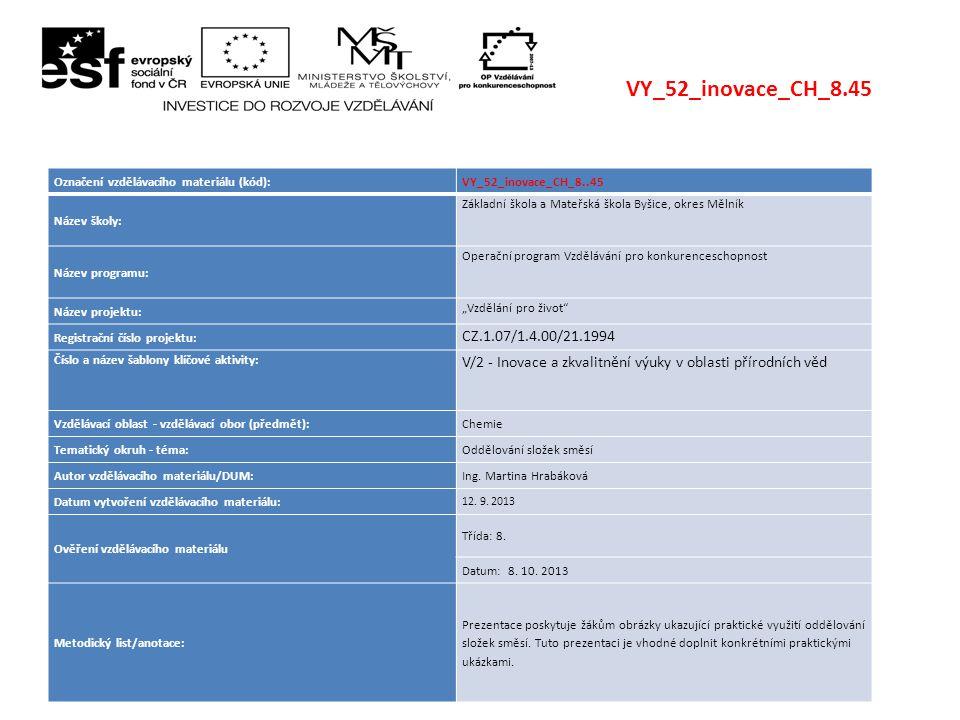 VY_52_inovace_CH_8.45 Označení vzdělávacího materiálu (kód):VY_52_inovace_CH_8..45 Název školy: Základní škola a Mateřská škola Byšice, okres Mělník N