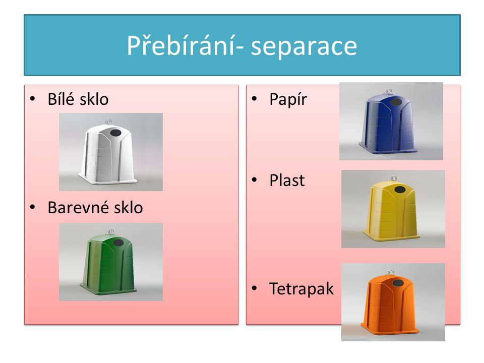 Přebírání- separace Bílé sklo Barevné sklo Bílé sklo Barevné sklo Papír Plast Tetrapak Papír Plast Tetrapak