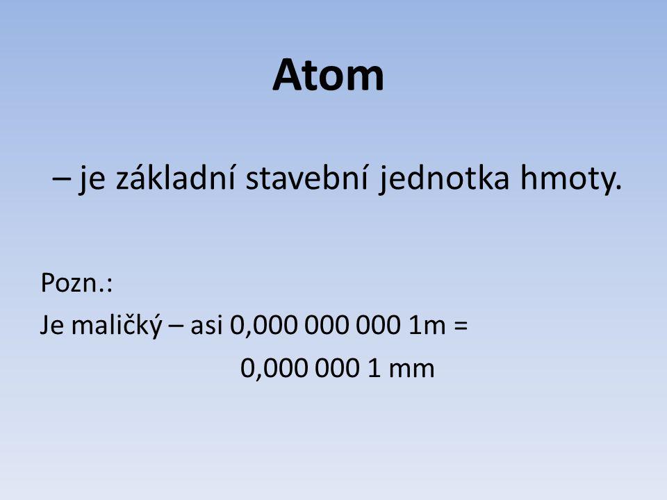 – je základní stavební jednotka hmoty. Pozn.: Je maličký – asi 0,000 000 000 1m = 0,000 000 1 mm Atom