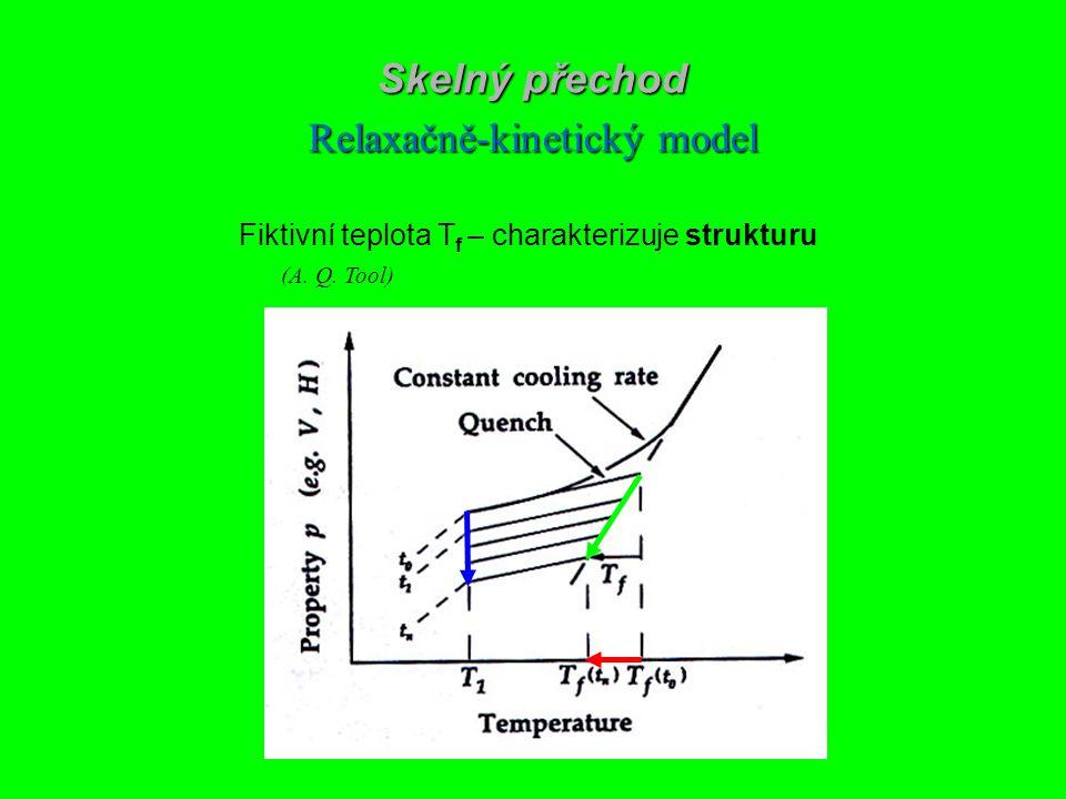 Skelný přechod Relaxačně-kinetický model Fiktivní teplota T f – charakterizuje strukturu (A. Q. Tool)