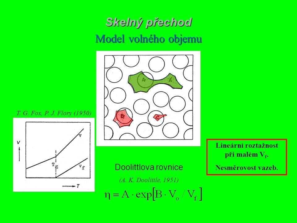 ? V = V o + V f V o – obsazený objem V f – volný objem Skelný přechod Model volného objemu Doolittlova rovnice (A. K. Doolittle, 1951) T. G. Fox, P. J