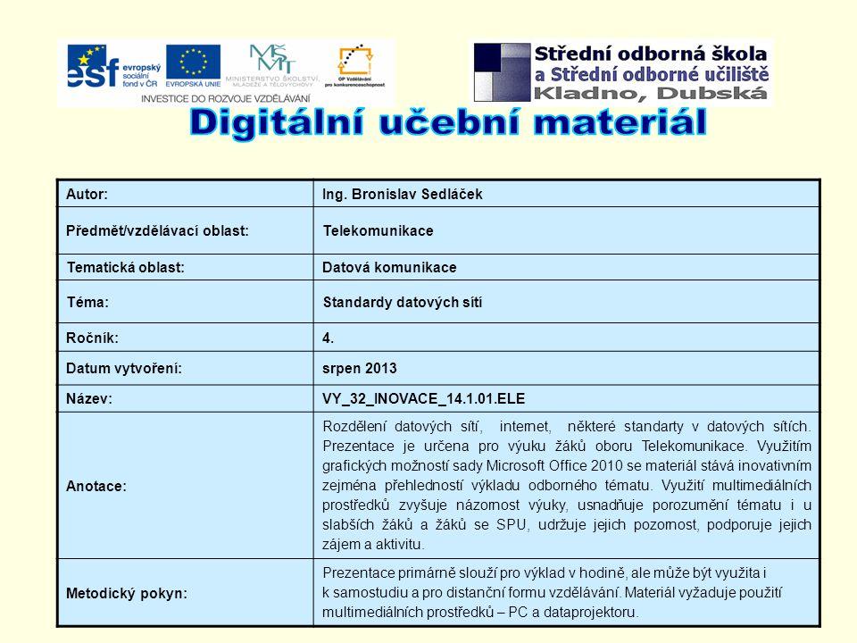 Autor:Ing. Bronislav Sedláček Předmět/vzdělávací oblast:Telekomunikace Tematická oblast:Datová komunikace Téma:Standardy datových sítí Ročník:4. Datum