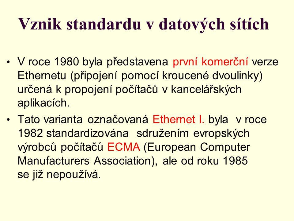Vznik standardu v datových sítích V roce 1980 byla představena první komerční verze Ethernetu (připojení pomocí kroucené dvoulinky) určená k propojení