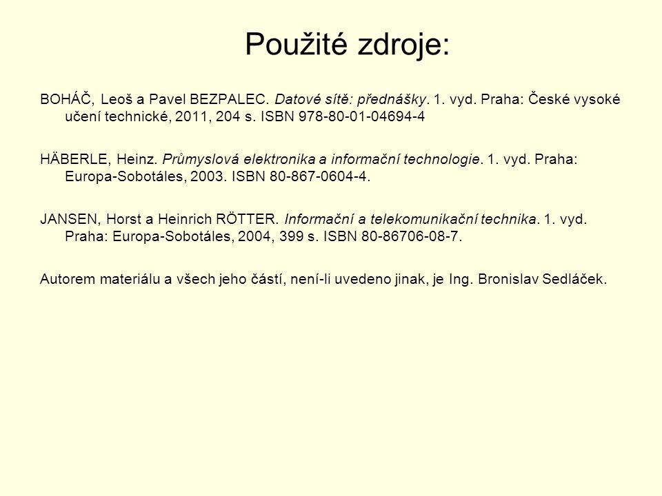 Použité zdroje: BOHÁČ, Leoš a Pavel BEZPALEC. Datové sítě: přednášky. 1. vyd. Praha: České vysoké učení technické, 2011, 204 s. ISBN 978-80-01-04694-4