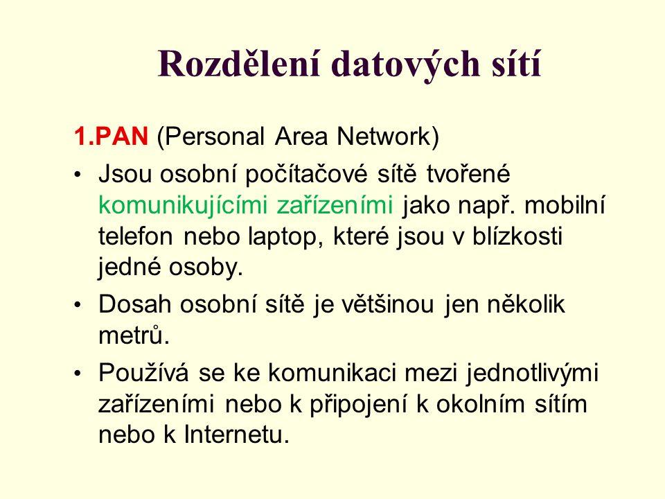Rozdělení datových sítí 1.PAN (Personal Area Network) Jsou osobní počítačové sítě tvořené komunikujícími zařízeními jako např. mobilní telefon nebo la