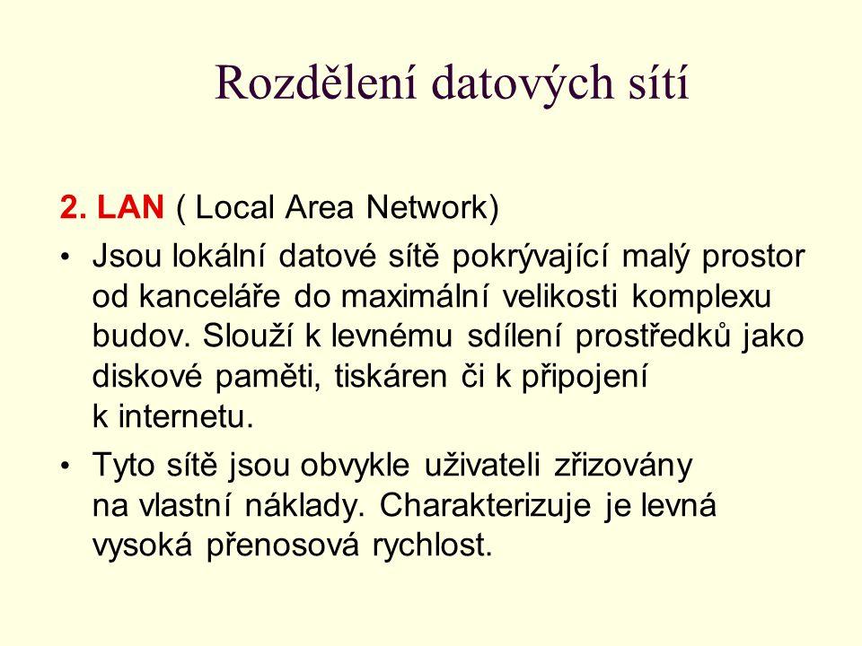 Rozdělení datových sítí 2. LAN ( Local Area Network) Jsou lokální datové sítě pokrývající malý prostor od kanceláře do maximální velikosti komplexu bu