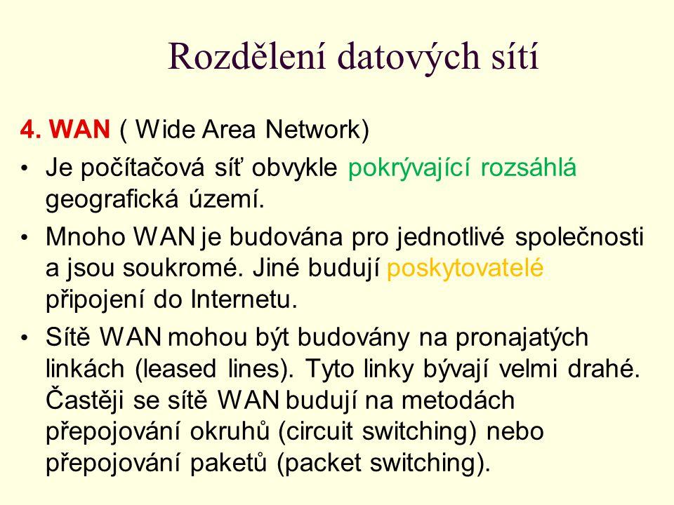 Rozdělení datových sítí 4. WAN ( Wide Area Network) Je počítačová síť obvykle pokrývající rozsáhlá geografická území. Mnoho WAN je budována pro jednot