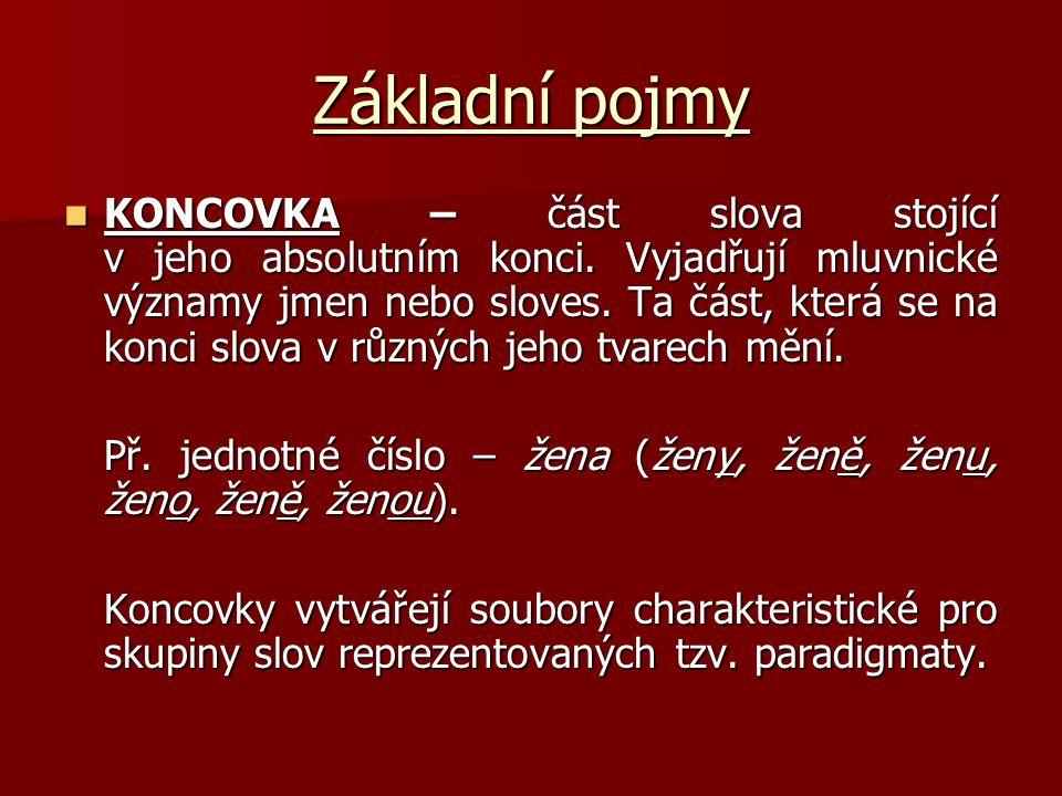 Základní pojmy KONCOVKA – část slova stojící v jeho absolutním konci. Vyjadřují mluvnické významy jmen nebo sloves. Ta část, která se na konci slova v