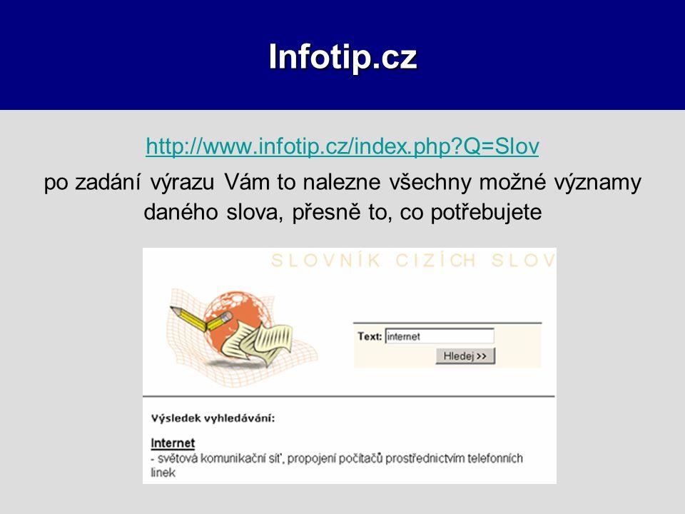 Infotip.cz http://www.infotip.cz/index.php?Q=Slov po zadání výrazu Vám to nalezne všechny možné významy daného slova, přesně to, co potřebujete
